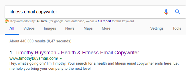 fitness email coywriter